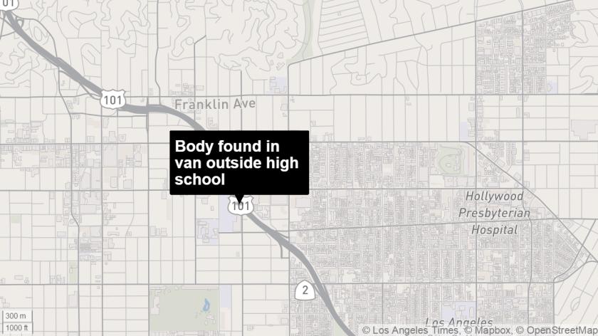 Body found in van outside high school