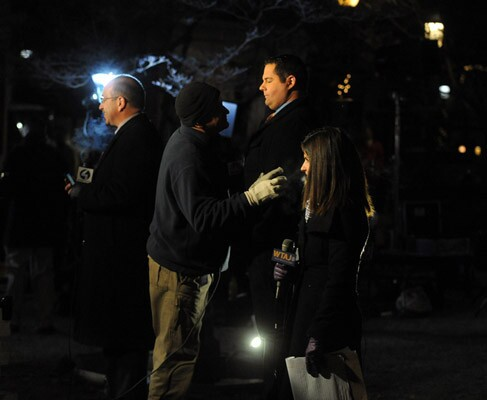 TV reporters before 6 a.m. in front of the courthouse for the Jerry Sandusky trial at the Centre County Courthouse in Bellefonte on Tuesday December 13, 2011