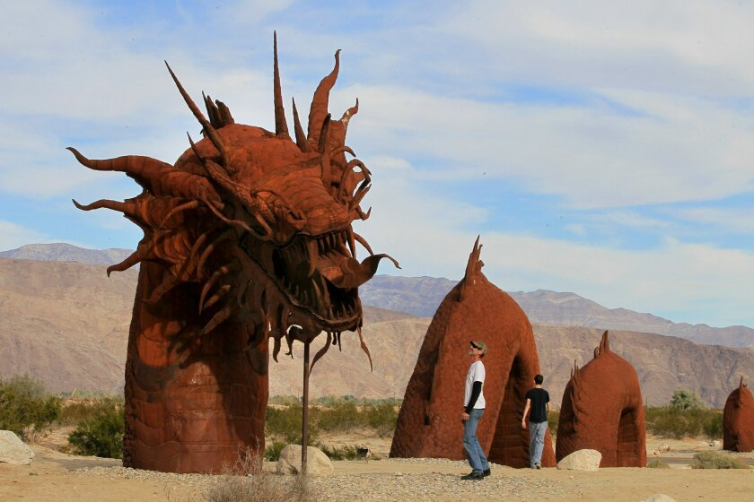 Ricardo Breceda's Serpent is one of about 130 sculptures by the artist on display in the Anza-Borrego Desert. CHARLIE NEUMAN • U-T