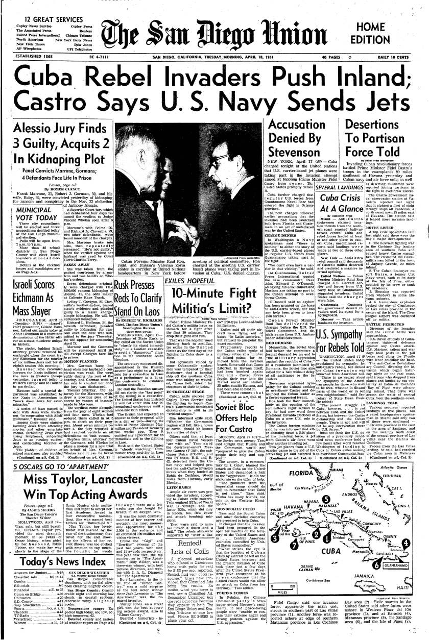 """Cuban Rebel Invaders Push Inland"" headline on the front page of The San Diego Union, April 18, 1961"