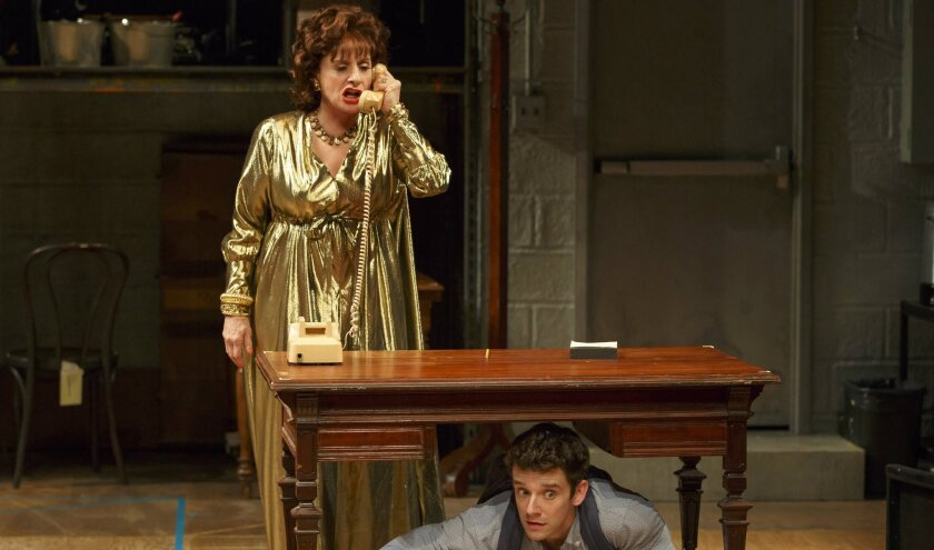 """Patti LuPone, left, and Michael Urie perform in a scene from the play, """"Shows for Days"""" at the Mitzi E. Newhouse Theater in New York."""