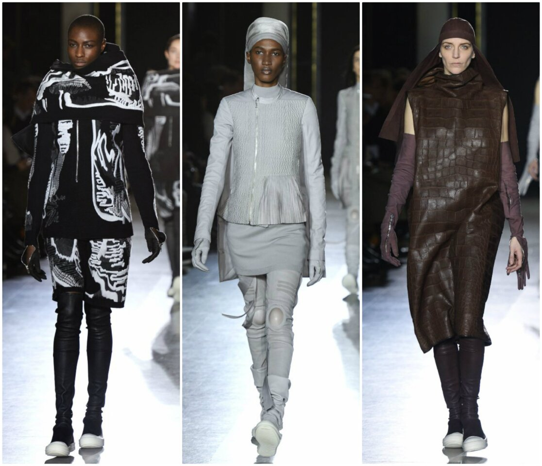 Looks from the fall and winter 2014 Rick Owens women's runway collection presented Thursday during Paris Fashion Week.
