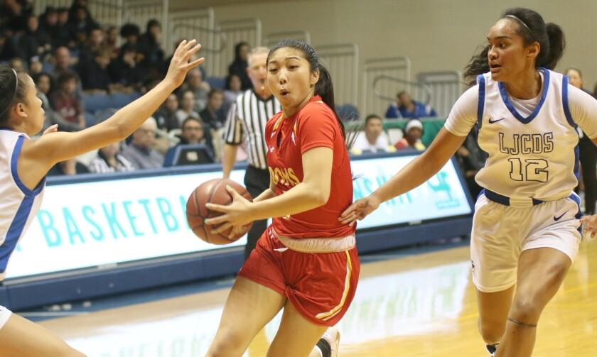 Junior guard Alyssa Garcia splits the LJCD defenders.