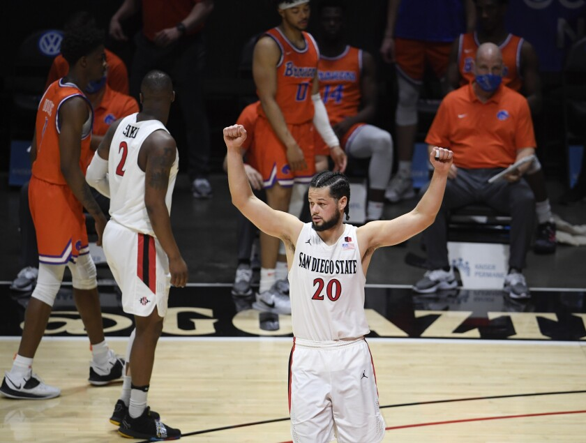 SDSU's Jordan Schakel (20) celebrates after the Aztecs beat Boise State on Feb. 27.