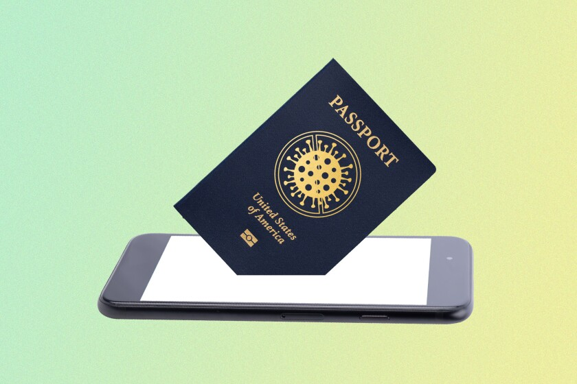 Illustration of a passport and a phone