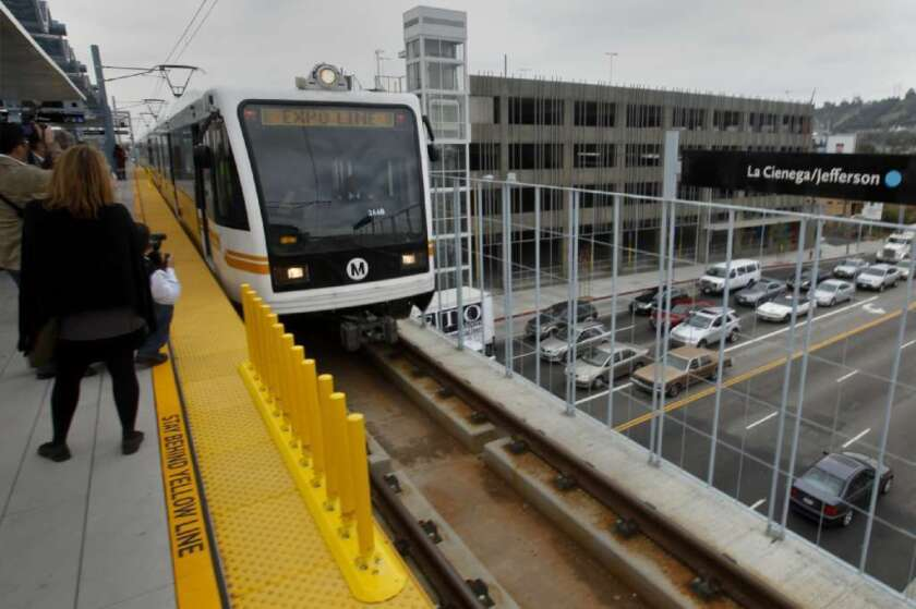 An Expo Line train pulls into the La Cienega/Jefferson station in Los Angeles. Metro's board of directors is beginning to discuss putting another sales tax measure on the ballot.