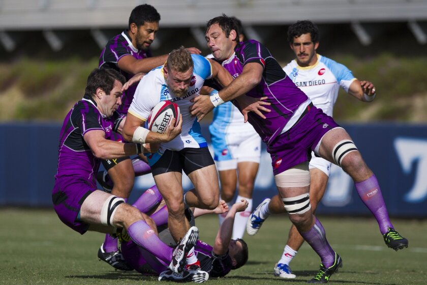 San Diego's first professional rugby team competed in their second match of the season against Denver in the PRO Rugby league. The team plays their home games at USD's Torero Stadium. San Diego's Phil Mackenzie is brought down by the Denver opposition. Chadd Cady for the San Diego Union-Tribune