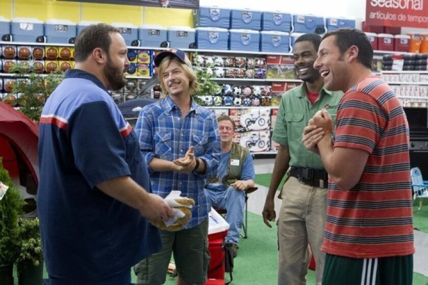 """From left, Kevin James, David Spade, Chris Rock and Adam Sandler appear in a scene from """"Grown Ups 2."""""""