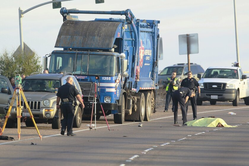 A pedestrian was struck and killed by a trash truck in 2014 while walking on the off-ramp to Rosecrans Street from I-8 westbound.  San Diego police were investigating the pre-dawn accide