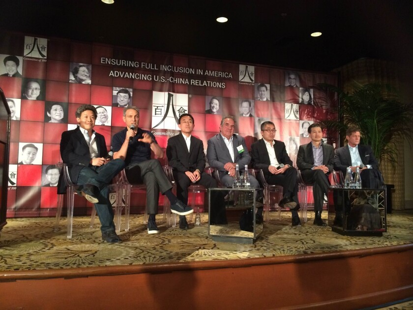 Industry leaders discuss China-Hollywood ties during the Committee of 100 annual conference Saturday. From left: Donald Tang of Tang Media Partners, Ari Emanuel of WME IMG, Jack Gao of Wanda Cultural Industry Group, Jim Gianopulos of 20th Century Fox, Li Ruigang of China Media Capital, Dominc Ng of East West Bank and Robert Simonds of STX Entertainment.