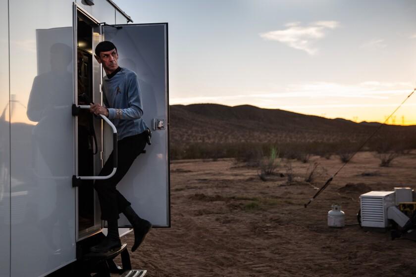 Impersonator Paul Forest, aka Spock Vegas, in the desert encampment.