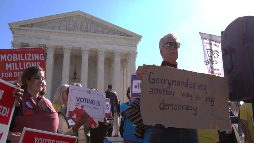 Demonstrators protest gerrymandering in the documentary 'Slay the Dragon'