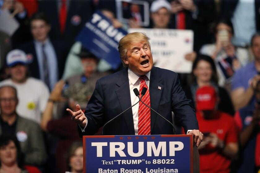 En esta imagen del 11 de febrero de 2016, el empresario Donald Trump, aspirante a la candidatura republicana a la presidencia, durante un acto de campaña en Baton Rouge, Louisiana, EE.UU. (AP Foto/Gerald Herbert)