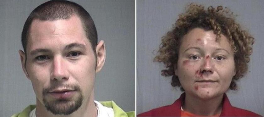 Combo de dos fotografías cedidas por el condado de Nassau, al noreste de Florida, donde aparecen Seth Aaron Thomas, de 31 años, y Megan Lynn Mondanaro, de 35, que fueron detenidos por embriaguez y siguen presos en una cárcel local. EFE/Nassau County/SOLO USO EDITORIAL/NO VENTAS