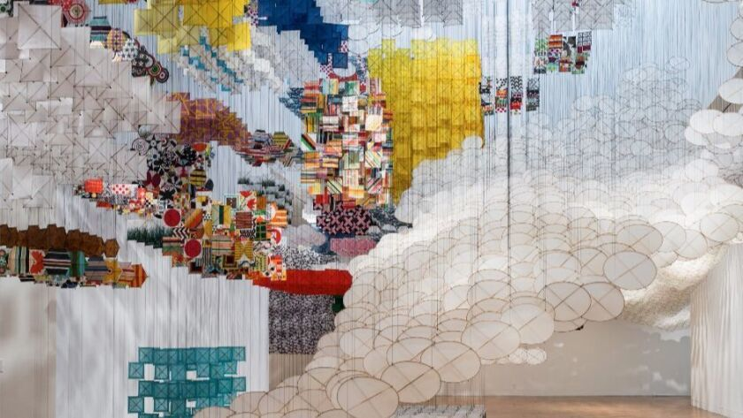 """Jacob Hashimoto's """"Gas Giant"""" on view at the Museum of Contemporary Art's Pacific Design Center in 2014. His new prints are at Mixografia."""
