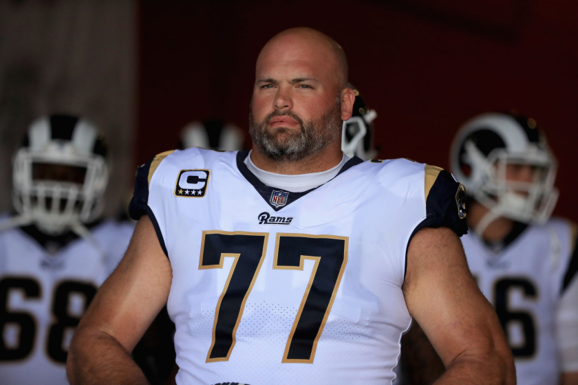 Rams offensive tackle Andrew Whitworth stands in the tunnel before a game.