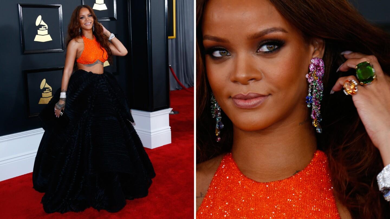 Rihanna arrives at the 59th Grammy Awards.