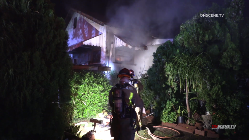 Five dogs and a parrot perished in a fire that damaged a Lakeside house early Sunday morning, a fire official said.