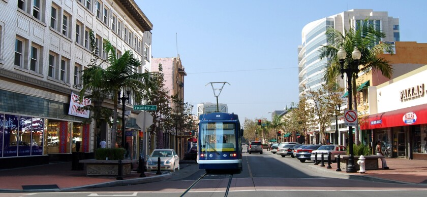 An artist's rendering of a proposed four-mile streetcar line from the Santa Ana Regional Transportation Center to a new center at Westminster Avenue and Harbor Boulevard in Garden Grove.