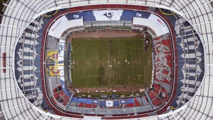 Mexico's Azteca stadium is seen from above in Mexico City, Tuesday, Nov. 13, 2018. The NFL has moved