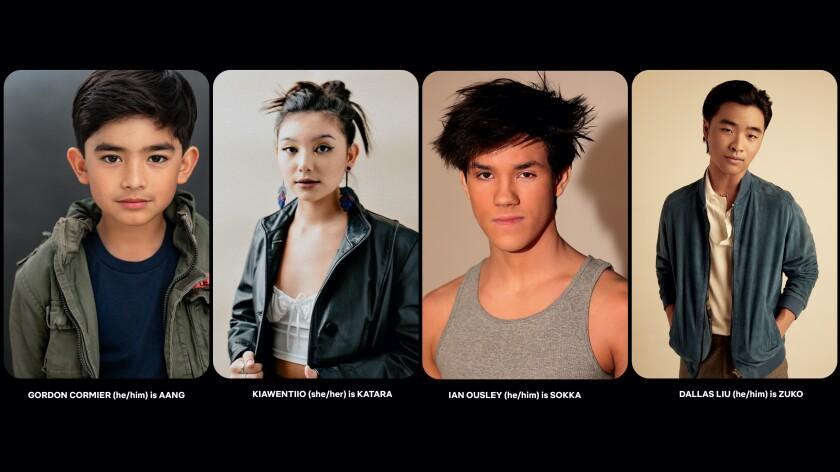 A split image of four young actors posing against plain backgrounds