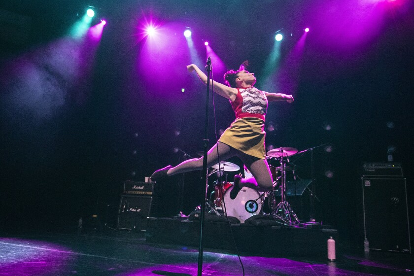 HOLLYWOOD, CA, THURSDAY, APRIL 25, 2019 - Kathleen Hanna of Bikini Kill performs at the Hollywood Pa