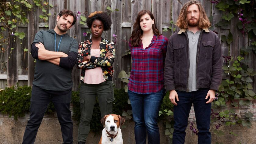 "ABC's ""Downward Dog"" stars Barry Rothbart, from left, as Kevin, Kirby Howell-Baptiste as Jenn, Ned a"
