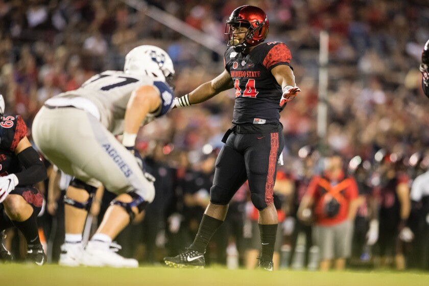 Challenges that included his mother spending a year and a half in prison helped motivate and shape Aztecs linebacker Kyahva Tezino.
