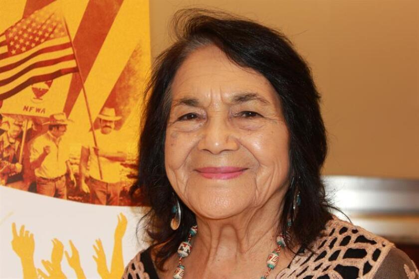 Fotografía de la activista estadounidense Dolores Huerta, de 87 años, durante una entrevista con Efe, en Washington, DC (EE.UU.). EFE/Archivo