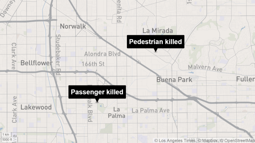 Traffic crashes Thursday morning killed two women in southeast Los Angeles County.