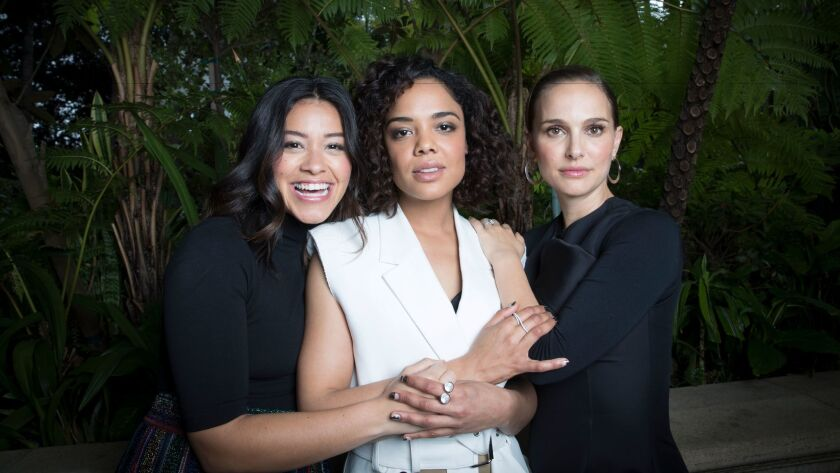 """LOS ANGELES, CALIF. -- SATURDAY, FEBRUARY 10, 2018: Cast members from """"Annihilation"""" Gina Rodriguez"""