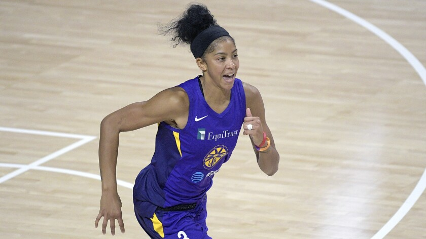 Sparks forward Candace Parker runs up the court.