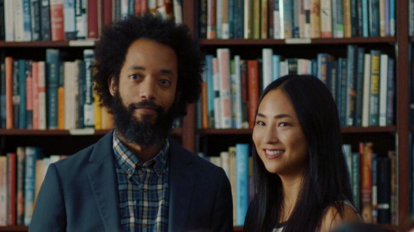 "Wyatt Cenac and Greta Lee in Laura Terruso's ""Fits and Starts."""