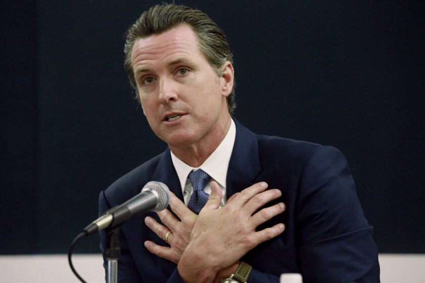 FILE - In this April 21, 2015, file photo, California Lt. Gov. Gavin Newsom speaks during a public forum about his Blue Ribbon Commission on Marijuana Policy at UCLA, in Los Angeles. (AP Photo/Nick Ut, File)
