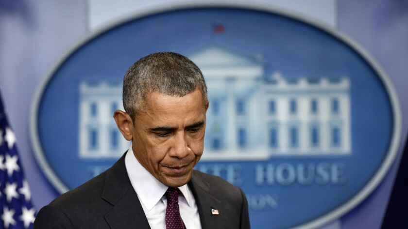 President Obama speaks at the White House after the Oct. 1 mass shooting at Umpqua Community College in Roseburg, Ore.
