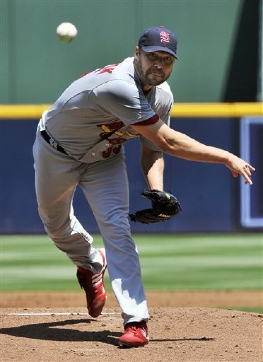 St. Louis Cardinals' Jake Westbrook pitches against the Atlanta Braves during the first inning of a baseball game, Saturday, April 30, 2011, in Atlanta. (AP Photo/John Amis)