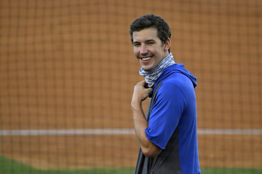 Dodgers pitcher Walker Buehler is pictured July 6, 2020, at summer training camp.