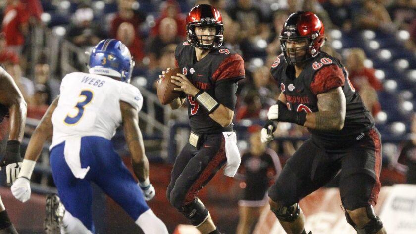 SAN DIEGO, October 20, 2018 | The Aztecs' quarterback Ryan Agnew looks to pass as Keith Ismael prepa