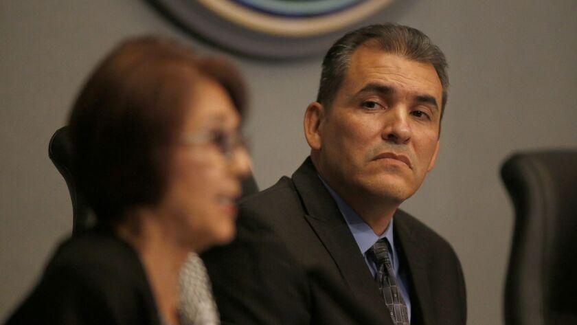ANAHEIM, CALIF. -- TUESDAY, JAN. 10, 2017: Anaheim city council member Dr. Jose F. Moreno, right, l