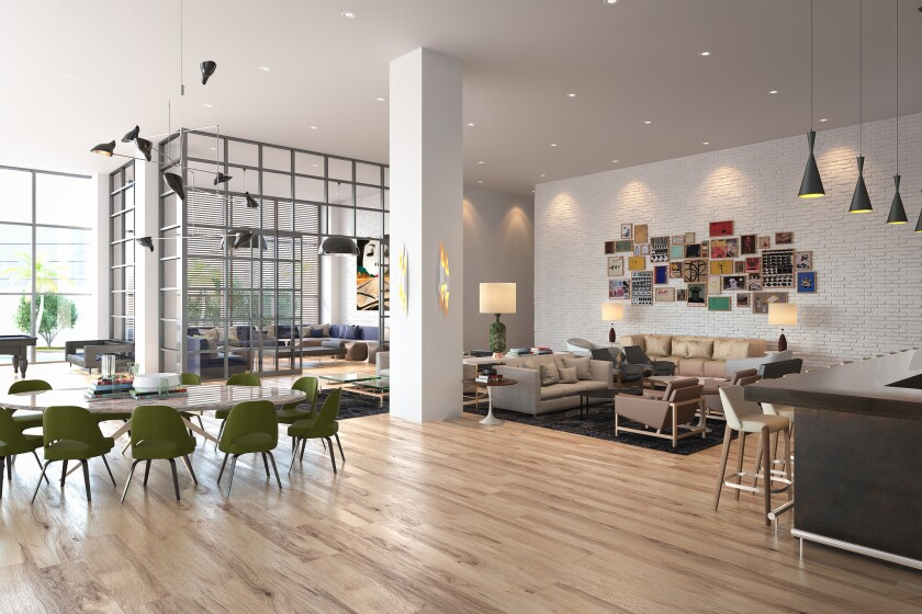 The lobby of the Everly, which features a contemporary, airy decor (artist's rendering).