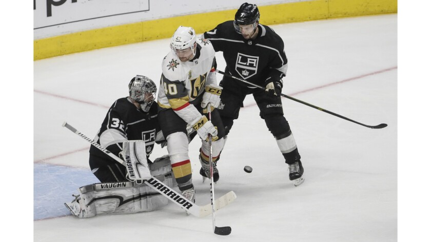 LOS ANGELES, CA, TUESDAY, APRIL 17, 2018 - Kings goslie Jonathan Quick keeps his focus on the puck a