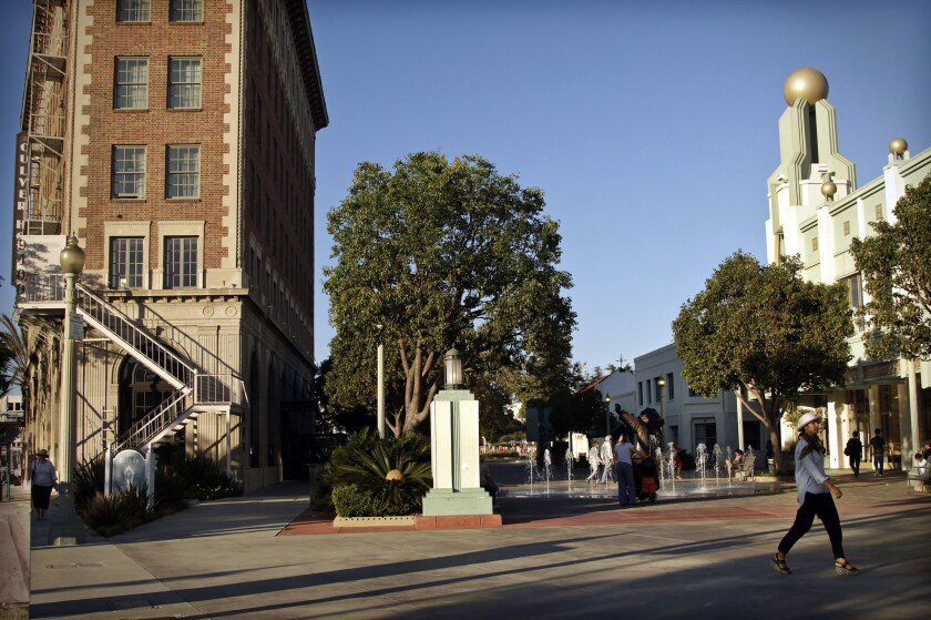 Town Plaza in historic Culver City, with the Culver Hotel and Pacific Theatre.