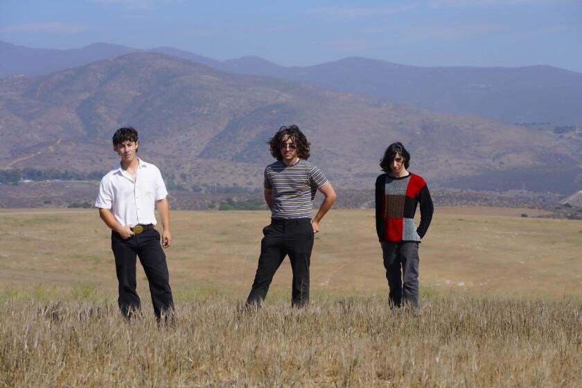 La banda de indie rock Los Saints de pie en un campo