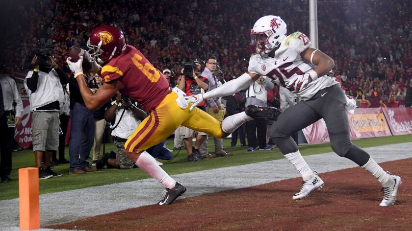 Michael Pittman Jr. of USC is called for being out of bounds during a catch in the end zone in front of Skyler Thomas of the Washington State Cougars late in the second quarter.