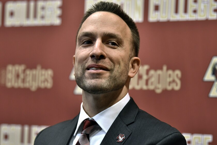 FILE - In this Dec. 16, 2019, file photo, Jeff Hafley speaks at a news conference where he was introduced as the new NCAA college football head coach at Boston College in Boston. The former Ohio State assistant took over in January 2020, and had just a couple of months to get settled before the coronavirus pandemic shut the school down. (AP Photo/Josh Reynolds, File)