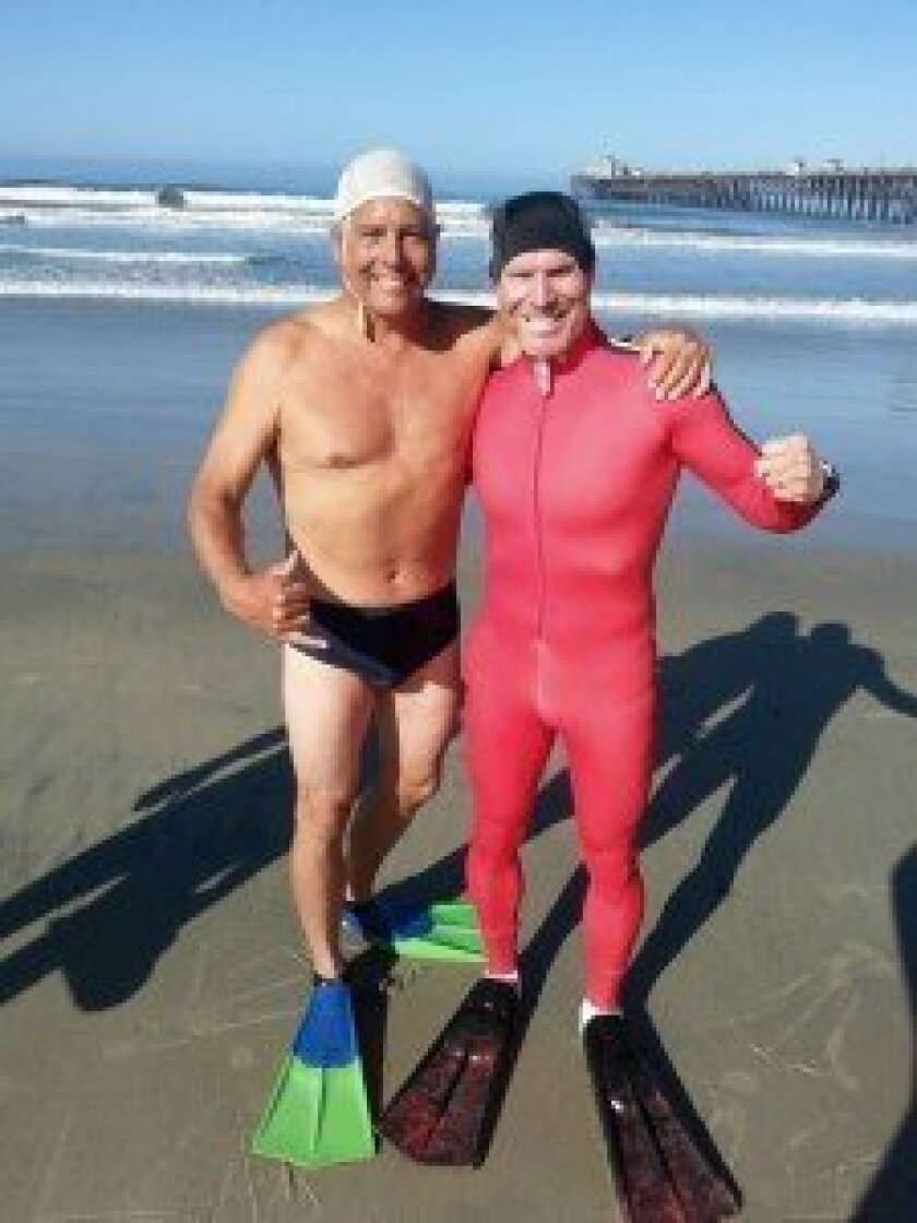 Dr. David Lane (4th place M55-64) and Dr. Chris Lafferty (1st place M55-64) just before entering the surf for the semifinals of the 2014 World Bodysurfing Championship in the Mens 55-64 age division.