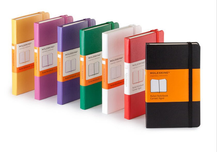 Moleskine notebooks come in many colors and sizes.