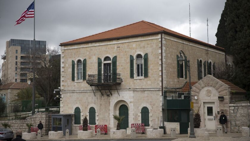 The gatehouse of the former U.S. Consulate General in Jerusalem on Monday.