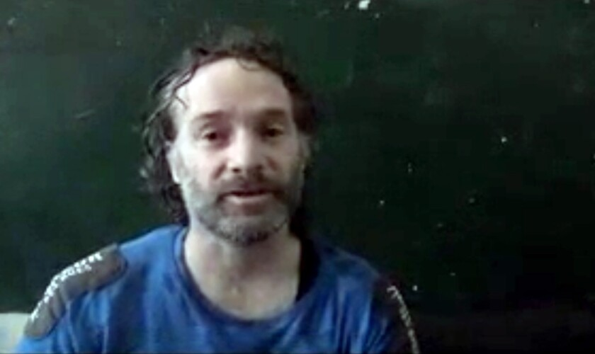 An image made from video shows a man believed to be Peter Theo Curtis, freed from captivity in Syria.