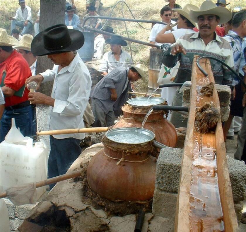 """Fotografía del 19 de junio de 2008, de los mezcales elaborados de manera tradicional en México. Desde el primer """"beso"""", el mezcal está lleno de promesas, que llaman a descubrir un mundo de matices e incluso a emprender un """"viaje espiritual""""; ahora, una nueva ruta turística en la Ciudad de México (México) invita a conocer más sobre la tradición, cultura y herencia de esta bebida de origen prehispánico. Se trata de la ruta """"Mezcales"""", que ofrece conocer la historia del mezcal a través de la degustación de esta bebida y de la comida típica de los estados mexicanos productores. EFE/David de la Paz."""